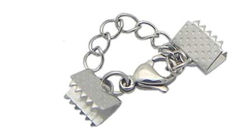 盛世汇众 6,5 mm 8,5 mm 25 mm de Acero Inoxidable con Textura Tapas terminales Crimp Cierres Fit Flat cordón de Cuero joyería de Bricolaje Collar (Color : Silver Tone, Talla : 6.5mm)