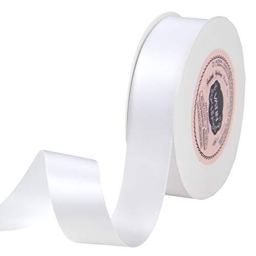 VATIN Nastro Raso 25mm Nastro di Poliestere Bianco Perfetto per l'arredamento da sposa, Wrest, Baby Shower, Gift Package Wrapping e altri progetti