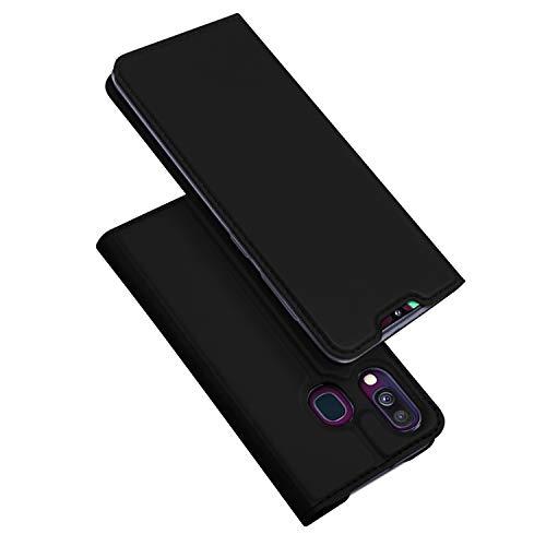 DUX DUCIS Hülle für Samsung Galaxy A40, Leder Klappbar Handyhülle Schutzhülle Tasche Case mit [Kartenfach] [Standfunktion] [Magnetisch] für Samsung Galaxy A40 (Schwarz)