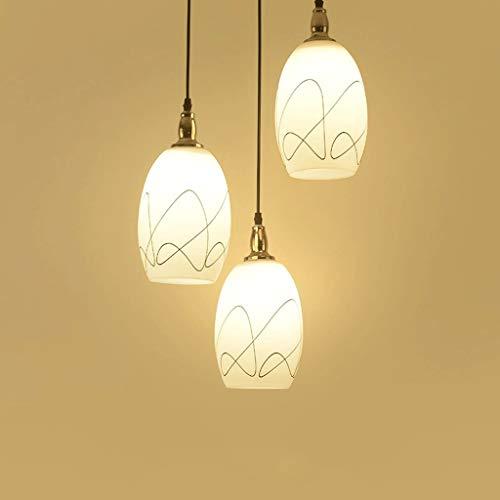 Kroonluchter ideeën van hoogwaardig glas met eenvoudige moderne hanger, drie tafellampen, voor eettafel, bar, rond, lampen, woonkamer, diameter 25 cm, 14 cm (100 cm kabel) D14x25cm
