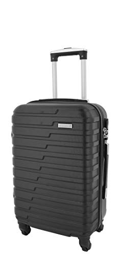 4 Wheels Hard Shell Suitcase Lightweight Strong Travel Luggage HLG303 Black (Cabin | 55x36x20cm/ 2.60KG)