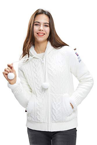 Extreme Pop Chaqueta de Punto con Capucha para Mujer, cárdigan con Cremallera, suéteres, Chaqueta de Invierno con Forro Polar cálido con Sherpa UK Stock (Blanca, S)