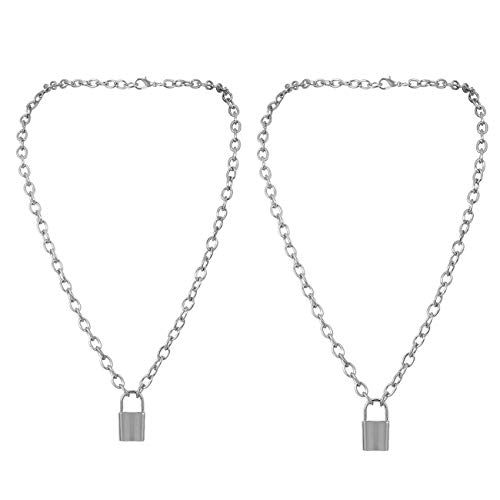 Lock Anhänger Halskette Anweisung Lange Kette Punk Gothic Multilayer Choker Halskette Schmuck für Frauen Mädchen Männer Jungen (Silber2)