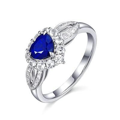 Bishilin Anillo de Mujer 750 Anillo de Compromiso, 3 Prong 0.8ct Corazón Zafiro con Diamante Anillo de Compromiso de Boda Aniversario Cumpleaños Oro Blancotamaño: 20