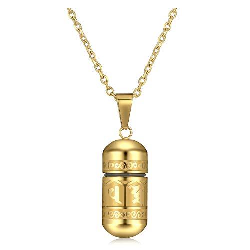 Zysta Collar unisex para hombre de acero inoxidable con colgante que se abre con una botella de recuerdo con elementos budismo, porta cabello y uñas, ceniza de los pequeños dorado