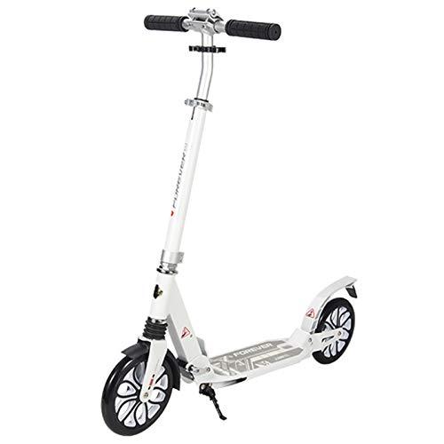 Patinete Adulto Scooter Portátil para Adultos de 150 Kg, Patinete de Planeador Plegable Ajustable con Ruedas Grandes y Suspensión Doble, para Desplazamientos/Ocio/Transporte (Color : White)