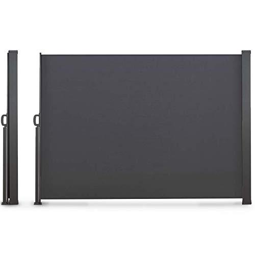 IDMarket - Paravent extérieur rétractable 140 x 250 cm Gris Anthracite Store latéral