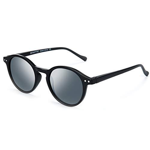 ZENOTTIC Gafas de sol Polarizadas Redondo Retrospectivo Clásico Retrospectivo Lentes de sol Marco UV400 Para hombres y mujeres (MATE NEGRO + GRIS)