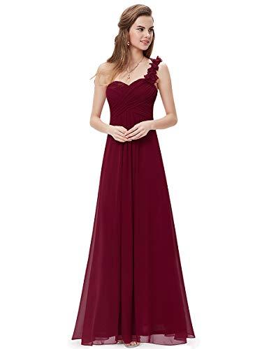 Ever-Pretty Vestito da Cerimonia Elegante Una Spalla Linea ad A Chiffon Lunghezza del Piano Vestiti da Cerimonia Borgogna 36EU