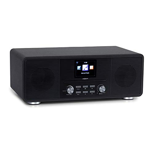 "oneConcept Streamo CD DAB/DAB+ Internetradio mit Bluetooth, Radioempfang per WLAN, UKW, 2 x 10 W RMS, CD-Player, Anschlüsse: AUX-IN, Kopfhörer, 2,8\"" Display, inkl. Fernbedienung, schwarz"