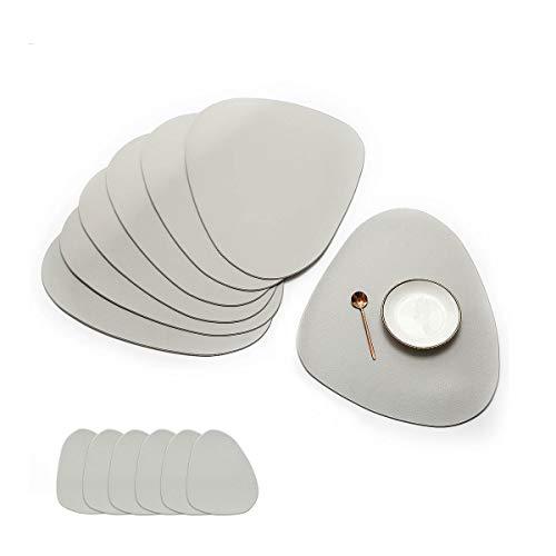 JJ JUJIN Rund 6er Set Platzsets and 6 Untersetzer Abwaschbar rutschfest PVC hitzebeständigen Tischsets für Küchentisch 38 cm Grau