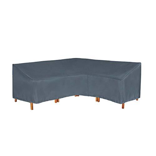 Hentex Cover Housse de protection pour meubles de jardin en forme de L - Imperméable et respirant - En tissu TPU - Protection contre le vent et les UV - Gris (270 x 210 x 85 x 90 H/65 cm)