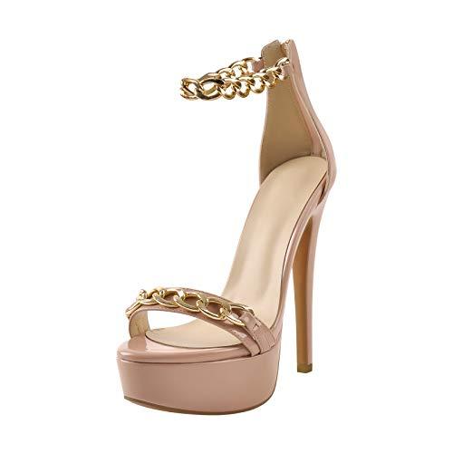 MissHeel Plateau High Heels - Sandali con catena dorata, Colore: rosa., 45 EU