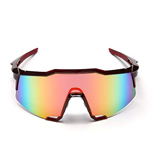 WJBABJ Ciclismo Gafas Gafas Gafas de Sol for Montar a Hombres y Mujeres Equipo de Ciclismo al Aire Libre Deportes (Color : Red Frame Red Lens)