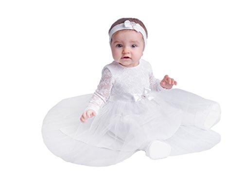 Taufkleid Festkleid Kleid Blanka mit langen Ärmeln 74 Weiß