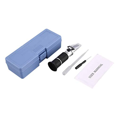 Petrichori Refractómetro De Mano Etilenglicol Anticongelante Contenido De Líquido De La Batería Medidor De Limpiador De Refrigerante Mini Probador De Medición ATC - Negro
