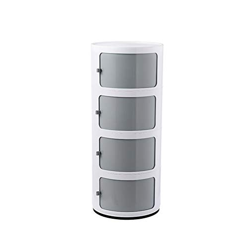 Bedside Table Bedside Cabinet Round Locker Bedroom Slit Storage Cabinet Plastic Multi-layer Storage Cabinet Bathroom Bathroom Cabinet (Color : Gray, Size : C)