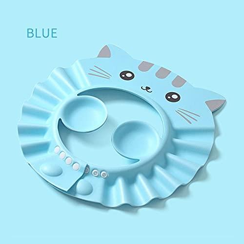 Gorro de Ducha para bebé, Gorro Ajustable para Lavar el Cabello para recién Nacidos, protección auditivapara niños, champú para niños, Protector para la Cabeza de baño-Blue Style 1