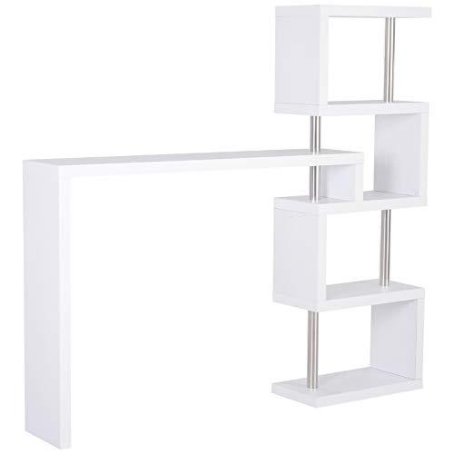 HOMCOM Bartisch-Regal Combi Stehtisch Tresentisch mit 4 Ablagefläche Multi-Winkel-Platzierung Drehbar Weiß 175x30x164,5 cm