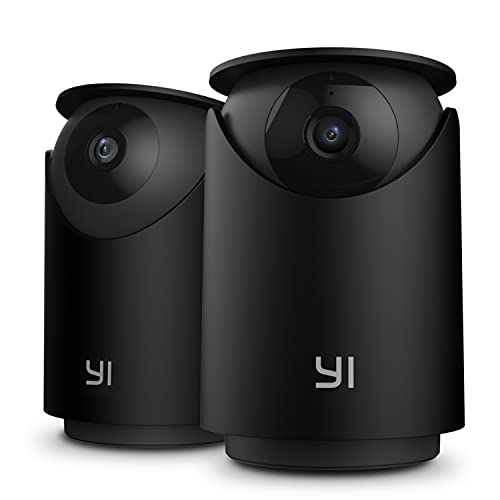 YI 2K Indoor Security Camera, WiFi Smart Nanny Pet Dog Cat Dome Cam with Night Vision, 2-Way Audio, Motion & Face Detection, 360-degree, Phone App, Compatible with Alexa and Google, 2pc