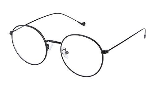 Lukis Brille Nerdbrille Retro Rund Unisex Metallgestell Brillenfassung Dekobrillen 140x50mm Schwarz
