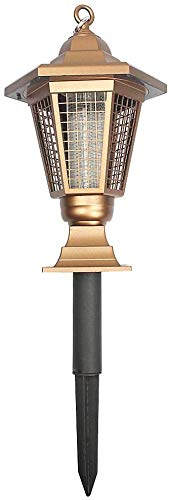 WYJW Elektrische muggenvernietiger, muggenlicht, verbeterde led-lamp op zonne-energie, pest insect muskieten-killer-lamp tuinlicht multifunctionele lamp vliegen voor gebruik buitenshuis (goud)