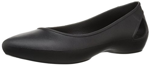 crocs Women's LauraFlatW Ballet Flat, black, W5 M US