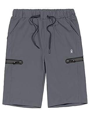 Little Donkey Andy Women's Ultra-Stretch Quick Dry Lightweight Bermuda Shorts Drawstring Zipper Pocket Hiking Travel Workout Gray XL