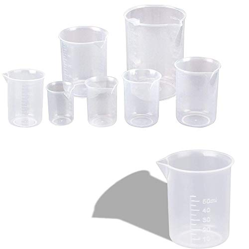 Wohlstand 8 pcs Vasos de Plástico Graduados Plástico PP Taza de Medición Transparente Vaso Graduado Medición Graduado de Vaso de Plástico para Cocina y Laboratorio 50/100/150/250/300/400/500 ml/600ml