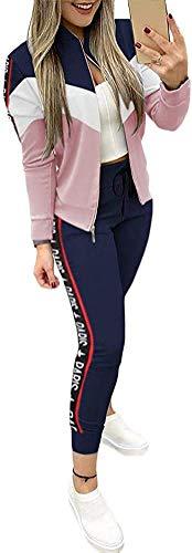 Mooyii Damen Jogginganzug Trainingsanzug Sportanzug Set Hausanzug Jacke Und Hose Jogginganzug Sportbekleidung Mit Reißverschluss Und Taschen (Marine,XS)