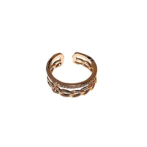 Anillo abierto de cadena de doble capa de alto grado de lujo ligero, interior femenino, diseño de marea, anillo ajustable de temperamento de nicho de sentido
