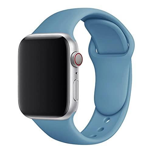 Correa de silicona para Apple Watch band 44mm 40mm 38mm 42 mm Correa de caucho pulsera de reloj inteligente para iWatch serie se 6 5 4 correa-Azul celeste-12,38 o 40 mm ML