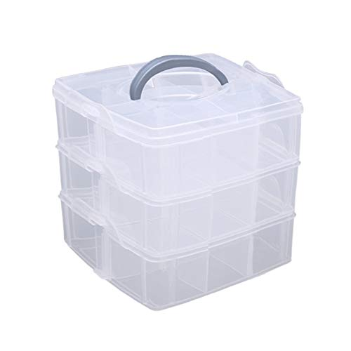 Hantier 3-Tier Transparent Adjustable Stackable Compartment Slot Plastic Storage Box, Snap-Lock Clear Container Box for Storing Toy Jewelry Accessory 2 Sizes (S)
