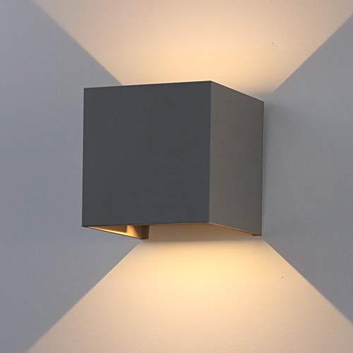 K-Bright 12W dekorative Wandlampen,wasserdicht IP 65 LED-Wandbeleuchtung im Innen-und Außenbereich, Dunkelgraues Aluminium, Einstellbarer Lichtstrahl, warmweiß, 12 W