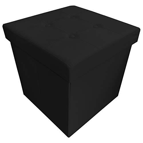 pouf contenitore nero 45x45 NuvolaNera Pouf Poggiapiedi Sgabello Decorativo con Contenitore in Ecopelle 45x45x45 cm – Grande capienza – Tenuta Fino a 150 kg – Nero