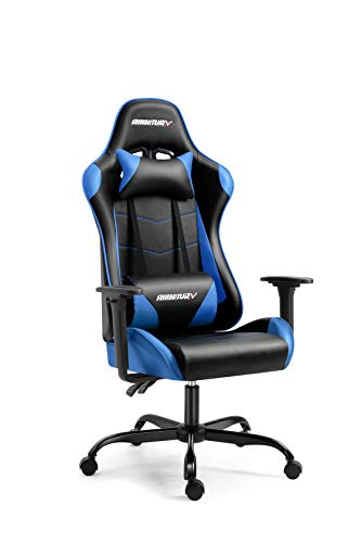 AMINITURE Gaming Chair Racing Style Office Computer Game Chair Adjustable Backrest and Seat Height Swivel Recliner Chair E-Sports Chair with Headrest and Lumbar Support (Blue&Black)