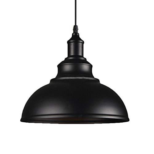 Pendelleuchte Industrielampe Vintage Lampenschirm E27 Ø29cm Hängeleuchte aus Metall, Schwarz und Weiß Wählbar für Wohnzimmer Esszimmer Restaurant Keller Untergeschoss Usw (Schwarz)