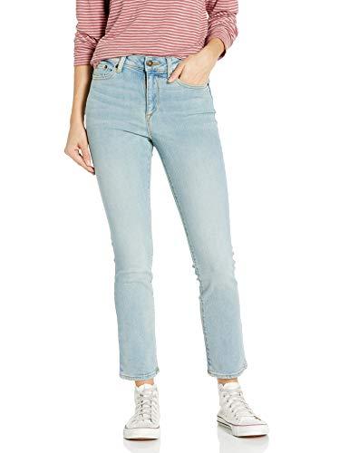 Amazon Brand - Goodthreads Women's Mid-Rise Slim Straight Jean, Bleach Wash 24