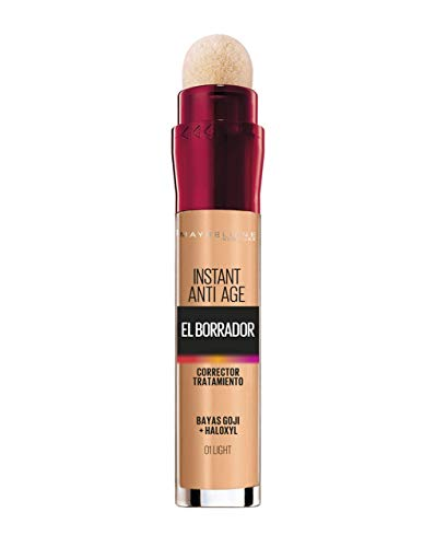 Maybelline New York, Corrector de Ojeras, Bolsas e Imperfecciones, Borrador Ojos, 01 Light, 6.8 ml