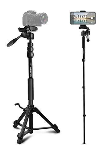 Camera Tripod 69 Inch, Patented Phone Holder Portable Aluminum Alloy Travel Phone Camera Tripod Monopod with 3-Way Swivel Pan Head for Canon Nikon DSLR, DV Video Camcorder, Smartphone