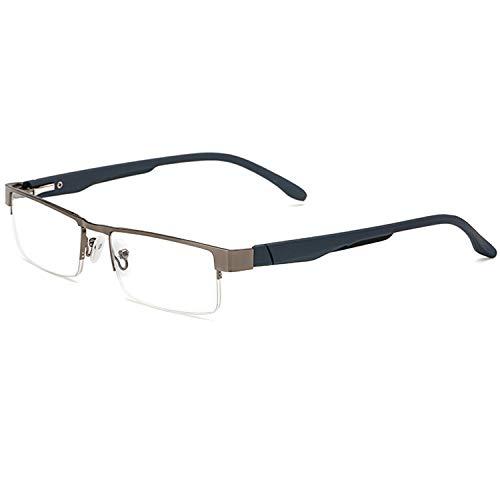 Twinkleyes Lesebrillen Metall Sehhilfe Augenoptik Halbrand Halbrandbrille Brille Lesehilfe für Damen Herren von 1.0 1.5 2.0 2.5 3.0 3.5 4.0 (Grau, 4.0)