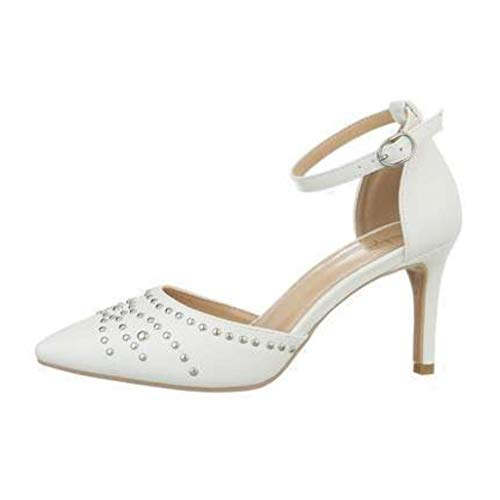 Escarpins Sandale Blanc, Petit Talons Aiguilles, Bout Pointu, Bride Chevilles, Chaussures de Mariage, de Mariée, de Soirée (Perle Argent, Numeric_41)