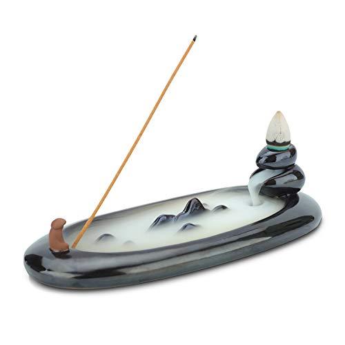 ComSaf Guilin Rückfluss Räuchergefäß Keramik, Alter Mann Wasserfall Weihrauch Halter, Rückfluss Räuchergefäß Räucherstäbchen Rückfluss für für Zuhause, Büro, Schlafzimmer, Yoga, Dekoration