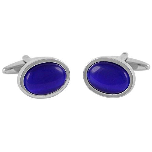 Lindenmann Cufflinks/Cuff Buttons, Silvery with Cats-Eye Dark Blue, Gift Box, 10430