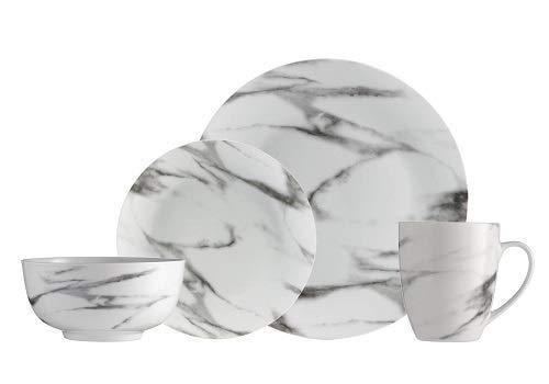 Safdie & Co. AM02721EC Set-16Pcs, Set includes 4 dinner plates 10.5', 4 Salad plates 7.5', 4 bowls 6' and 4 mugs 360ml, White