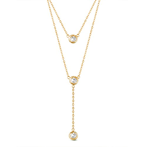 """SHEGRACE 18K Gold Plated Double Layered Necklace 925 Silver with Round Zircon Pendant 16""""~17.3"""""""