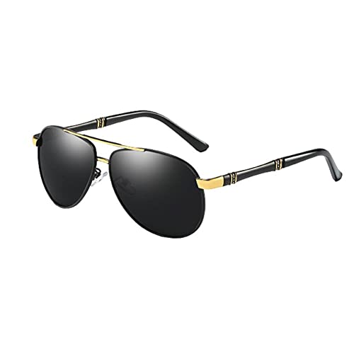 DovSnnx Unisex Polarizadas Gafas De Sol 100% Protección UV400 Sunglasses para Hombre Y Mujer Gafas De Aviador Gafas De Ciclismo Ultraligero Miroir Crapaud Montura De Oro Negro Lentes Grises