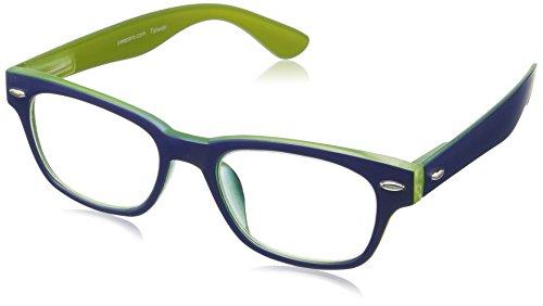Peepers by PeeperSpecs Bellissima Rectangular Reading Glasses, Navy/Green-Original Lenses, 1.5
