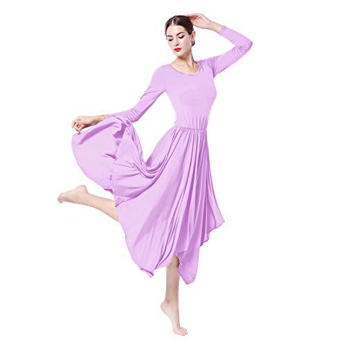 Vestido de danza litrgica de manga larga para mujer, corte holgado, cuello redondo, con volantes, falda plisada, disfraz de ballet, alabanza iglesia, culto para mujer
