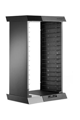 snakebyte PS4 CHARGE:TOWER - Games Tower zur Aufbewahrung von Spielen & Blu rays - inkl. 2-fach USB Port zum Aufladen der Controller - schwarz - für PlayStation 4